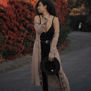 Embroidered Boho Duster Cardigan.